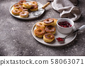Homemade donuts with rose jam 58063071