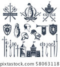Monochrome pictures and badges of medieval knight theme. Illustrations of helmets, swords 58063118