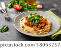 Pasta Bolognese. Spaghetti with meat sauce 58063257