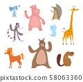 Vector cartoon illustrations of funny animals 58063360