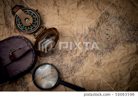 old map with compass 58063596
