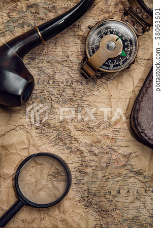 old map with compass 58063601