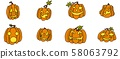 funny orange pumpkins with faces a selection 58063792