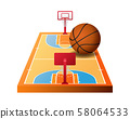 3d basketball court with hoops and orange ball 58064533