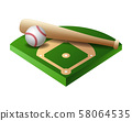 3d baseball base, field part with bat and ball 58064535