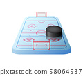 3d hockey rink with gates and black puck isolated 58064537