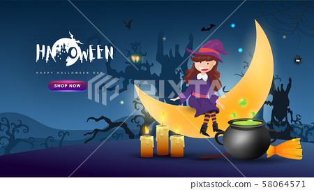 Little Cute Witch on Dark night background.Banner of Happy Halloween Day. Creative and Modern design in EPS10 Vector Illustration. 58064571