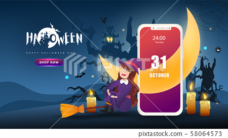 Little Cute Witch on Dark night background. Mobile web application.Banner of Happy Halloween Day. Creative and Modern design in EPS10 Vector Illustration. 58064573