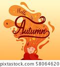 Hello Autumn seasonal card with women, long hair 58064620