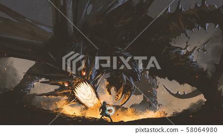 the girl fighting the legendary dragon 58064980