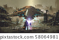 encounter between two futuristic humans 58064981