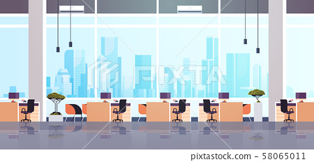 creative office co-working center empty no people workspace with furniture modern cabinet interior 58065011