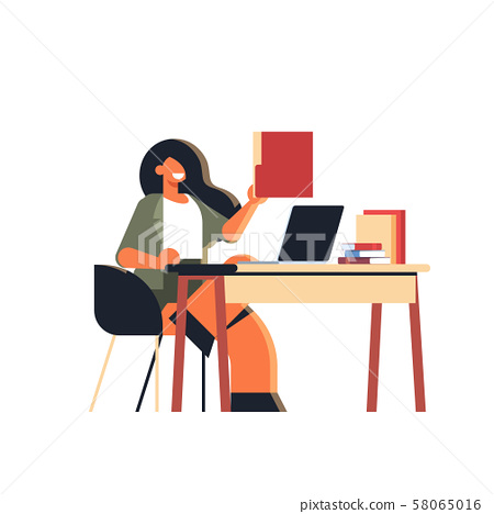excited businesswoman holding paper document folder business woman secretary sitting at workplace 58065016
