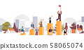 businesspeople climbing financial bar graph businessman with flag on top of career ladder win 58065074