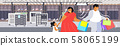 fat obese parents with child holding shopping bags family having fun walking together holiday big 58065199