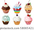 Cupcakes 3d set. Realistic sweet dessert with cream and berries, vanilla cakes. Chocolate cupcake 58065421