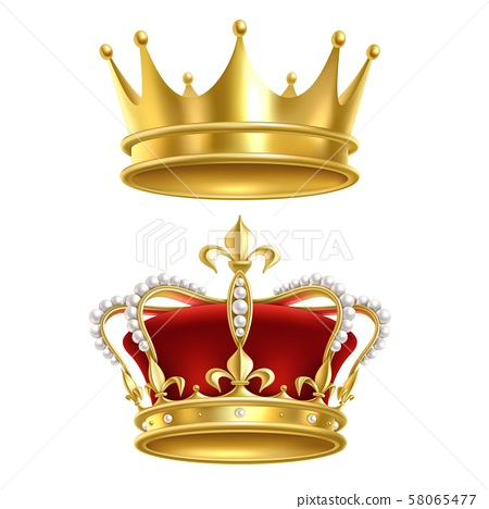 Real royal crown. Imperial gold luxury monarchy medieval crowns for heraldic sign isolated realistic 58065477