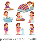 Girl daily activities. Children life morning brushing teeth exercising reading school toys and other 58065488