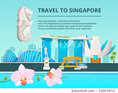 Urban landscape with cultural objects of singapore 58065654