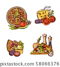 Vector colored hand drawn italian pizza, vegetables and cheese piles set 58066376