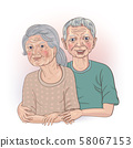 Senior couple with his arm around his wife's hand 58067153