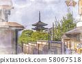 Japanese scenery Kyoto Tower of Yasaka seen from Sannenzaka 58067518