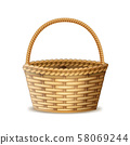 Realistic 3d Detailed Wooden Basket with Handle. Vector 58069244