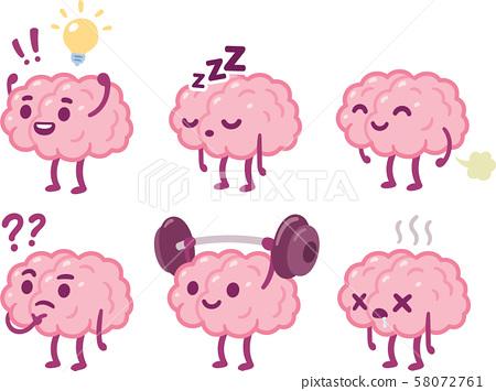 Cartoon Brain Character Set Stock Illustration 58072761 Pixta