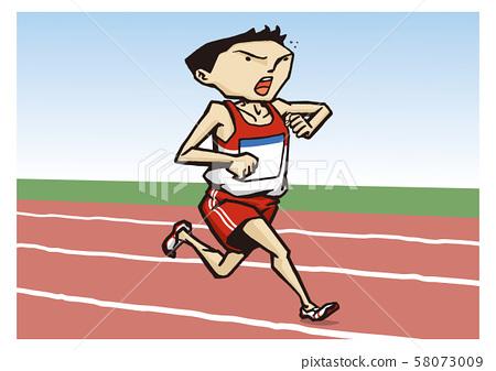 Athletics Men's Medium Distance Running Illustration 58073009