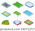 Sport fields isometric. Sports playgrounds handball soccer water area baseball volleyball tennis 58073257