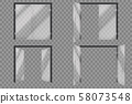 Glass doors. Open closed supermarket outside transparent door isolated vector 3d set 58073548
