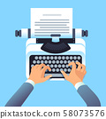 Writer author write article with typewriter. Mans hands type story for paper book or blog. Blogging 58073576