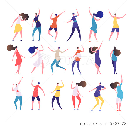 Dancing people. Cartoon stylish men and women dance on party dancing club. Clubbing people vector 58073783