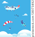 Skydiving concept. Parachutists jumping out of plane in blue sky. People skydivers vector 58073892