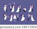 Wedding couples. Bride and groom on marriage ceremony. Getting married people characters isolated 58073909