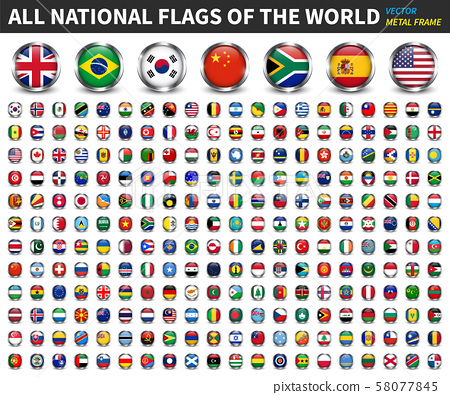 All national flags of the world . Circle metal 58077845