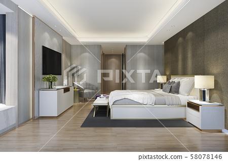 3d rendering beautiful luxury bedroom suite in hotel with tv 58078146