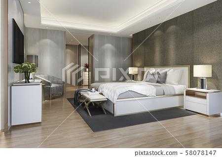 3d rendering beautiful luxury bedroom suite in hotel with tv 58078147