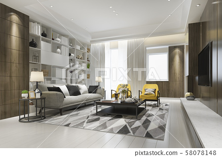3d rendering loft luxury living room with yellow armchair with bookshelf  58078148