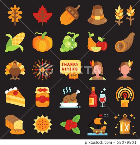 Thanksgiving day flat icon set 58079801