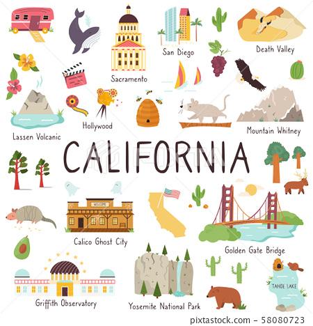 California big set of landmarks, monuments symbols 58080723