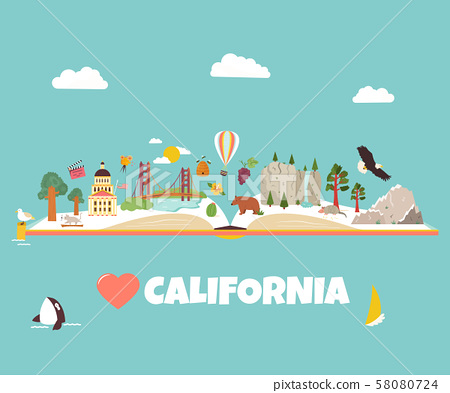 California vector concept for banners, tour guides 58080724
