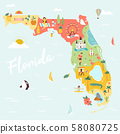 An Illustrated map of Florida with destinations 58080725