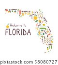 Illustrated abstract map of Florida with symbols 58080727