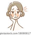 피부의 적색과 홍조로 고민하는 중년 여성 58080817