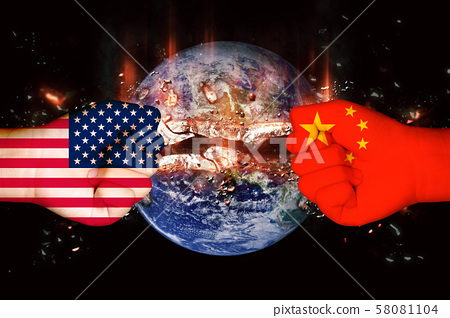 Flags of USA and China 58081104