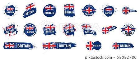 United Kingdom flag, vector illustration on a white background 58082780