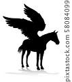 Pegasus Silhouette Mythological Winged Horse 58084099
