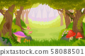 Fairy tale forest background with copy space. Wide view. 58088501
