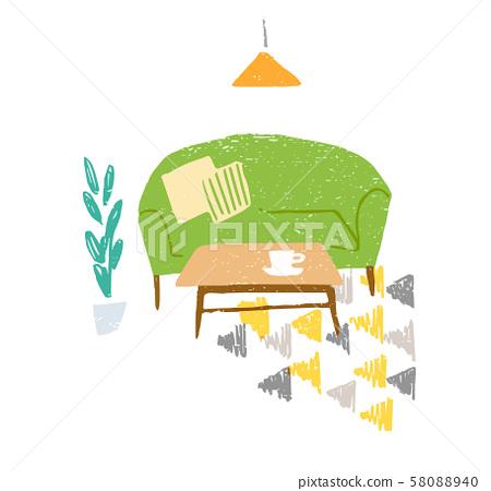 그린의 소파와 테이블 58088940